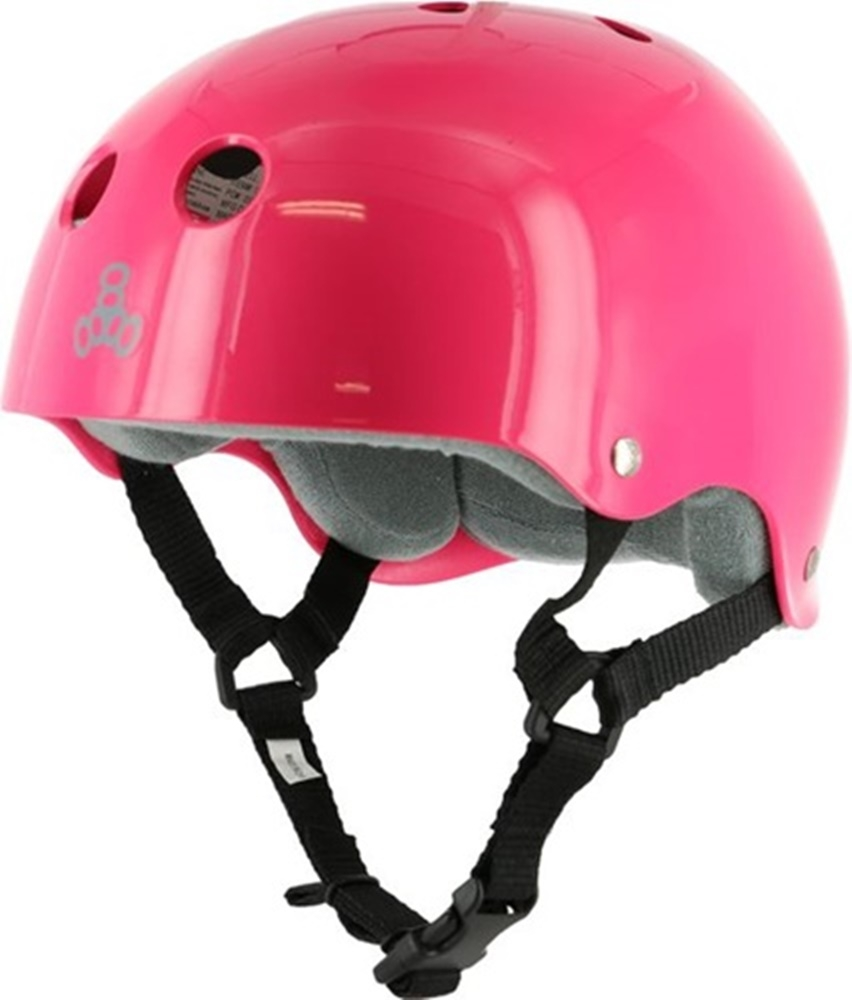 Детский шлем для роликов Triple Eight Brainsaver Helmet with Sweatsaver Liner neon fuscia glossy — <Фото №4>